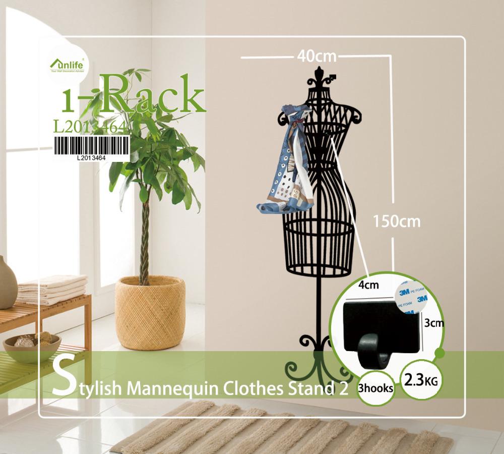 Funlife Stylish Mannequin Clothes Stand Coat Rack Hanger Wall Hooks Sticker MEDIUM 40 x 150cm with 3 Hooks as Bonus L2013464(China (Mainland))