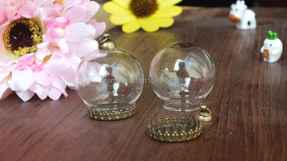 Shipping free perfect 30 * 20 mm globe glass and bronze Crown base and 8 mm cap Set DIY bottle Charm Apothecary Jewelry Supplies(China (Mainland))