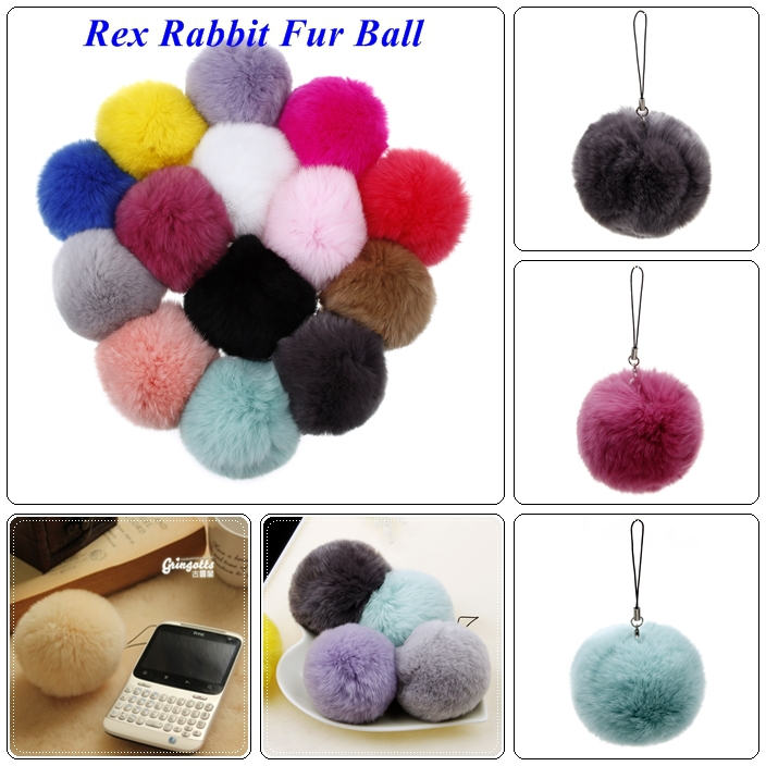14 Colors High Quality 2014 Fur Ball Keychain New Christmas Trinket For Lovers Big Genuine Rex Rabbit Fur Key Chains Keyring(China (Mainland))