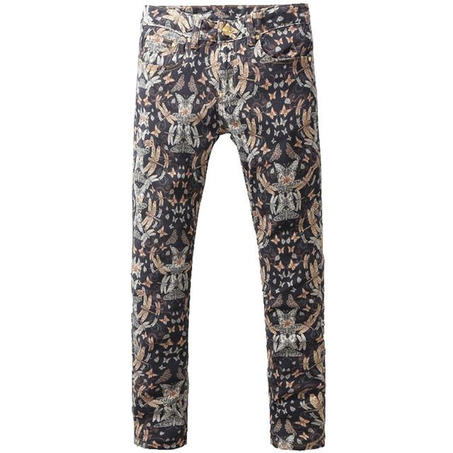 Мужская мода стрекоза печать джинсы мужской старинные тонкий джинсовые брюки длинные ...