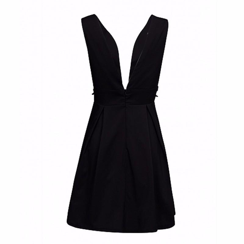 HDY Haoduoyi Black Rose Bordados Plunge Neck A-line Vestido de Chaves Zipper Backless Mini Vestido Sexy Mulheres Fora Do Ombro Vestido