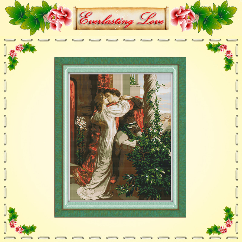 Romeo and Juliet love kiss painting chinese Cross stitch DMC 14CT 11CT counted printed on fabric kits embroidery needlework Sets(China (Mainland))