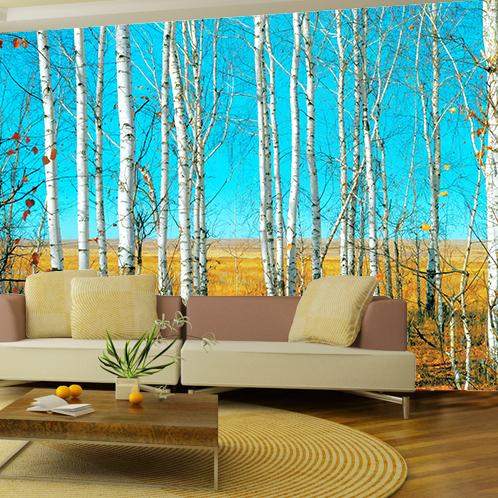 High quality modern luxury wallpaper 3d wall mural papel for Beautiful birch tree wall mural