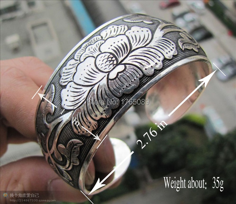 New peony ethnic Tibetan silver Tibetan act the role of wind restoring ancient ways of jewelry cuff bracelet(China (Mainland))