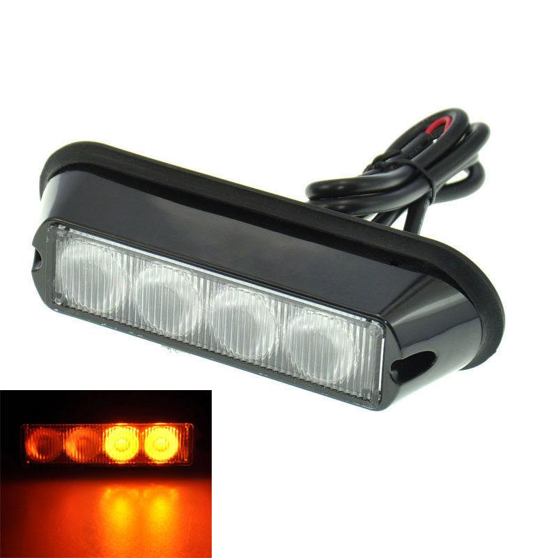 Amber 4 Led Car Warning Light Flashing Lamp Emergency Beacon Light Bar Hazard Strobe Light IP62 Waterproof Light(China (Mainland))