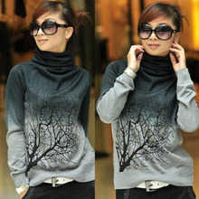 Women Turtleneck Wool Pullover Sweaters Tree Pattern Shirt Knitted Tops S M L XL(China (Mainland))