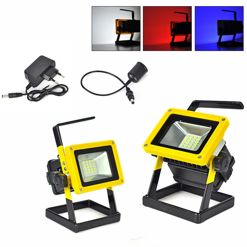 10W Floodlights Rechargeable 24 LED Flood Light Lamp IP65 Red/White/Blue Light for Outdoor Camping Work Light + Car &amp; AC Charger<br><br>Aliexpress