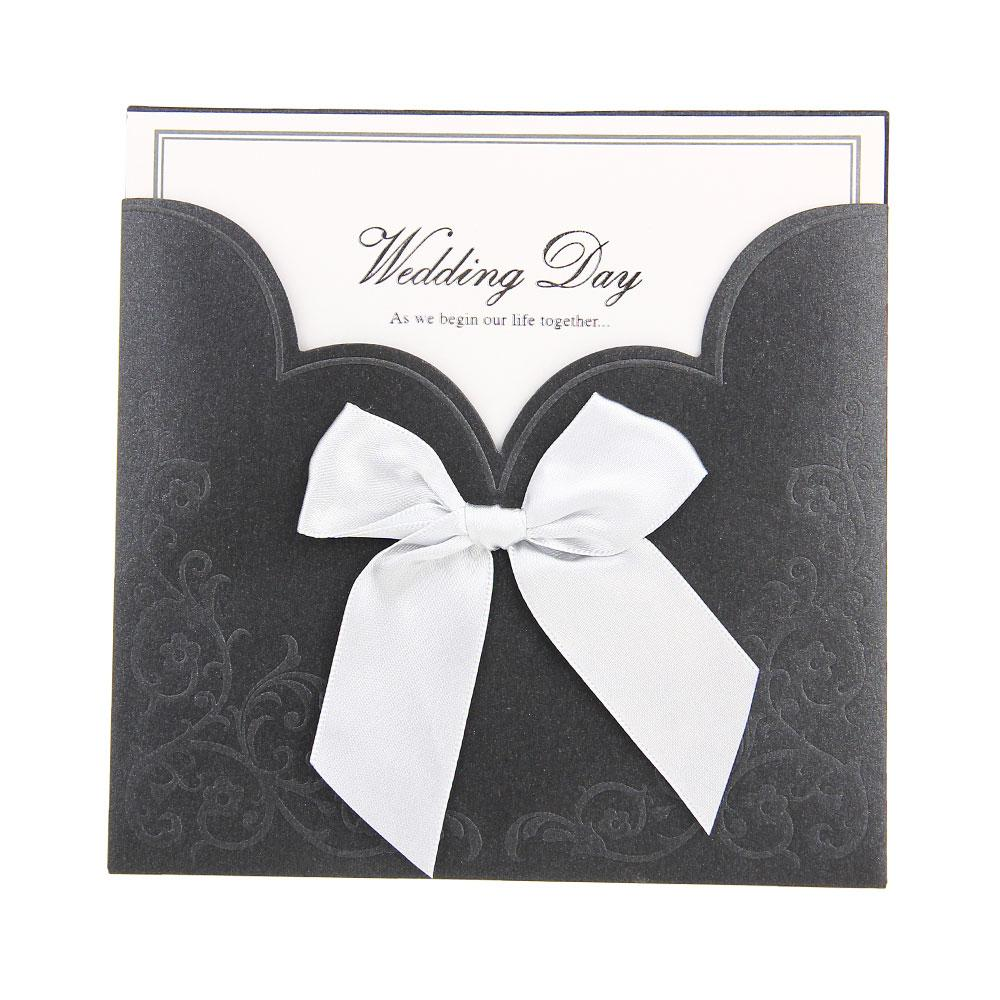 12x Wedding Invitation Cards Envelope Laser Cut Floral Bowknot Black + White(China (Mainland))