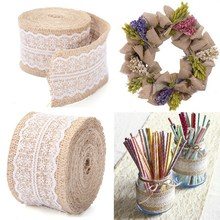 2015 New Arrival 5M Vintage Natural Jute Burlap Hessian Ribbon Lace Trim Table Wedding Decor(China (Mainland))