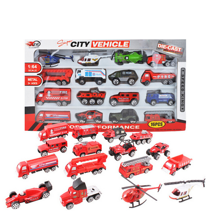 16 Pieces Cars Plus Trucks Diecast Model Voiture Cars Kits Toy Mini Toys For Kids Children Play Gift Toys(China (Mainland))