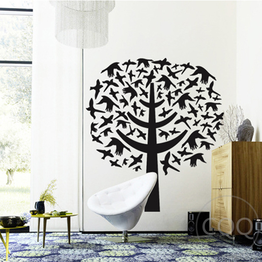 Tree wall sticker creative home decor black adhesive birds for Black tree wall mural