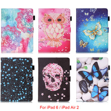 For Apple iPad 6 iPad6 Case Mandala Butterfly Skull Flower Pattern Tablet Back Cover with Stylus holder For iPad Air 2 9.7''(China (Mainland))