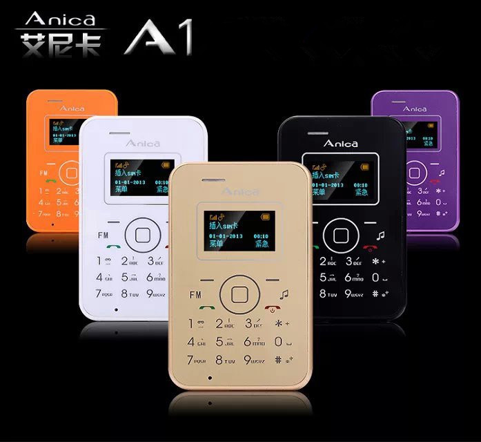 New Anica A1 Mini Card Phone With OLED Display Backup Wallet Phone 6.5mm Ultra thin Low Radiation Mobile Phone(China (Mainland))