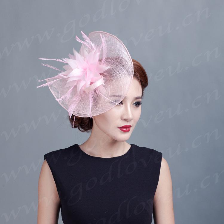 Ladies Sinamay floral Hat Fascinator Feather Flower Hair Clip Wedding Hats Fascinators Bridal Hair Acessories Chapeu Casamento(China (Mainland))