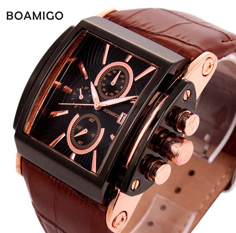 BOAMIGO relojes mujer 2015 Relogio Masculino feminino Business Stainless steel quartz watches genuine leather strap wristwatches(China (Mainland))