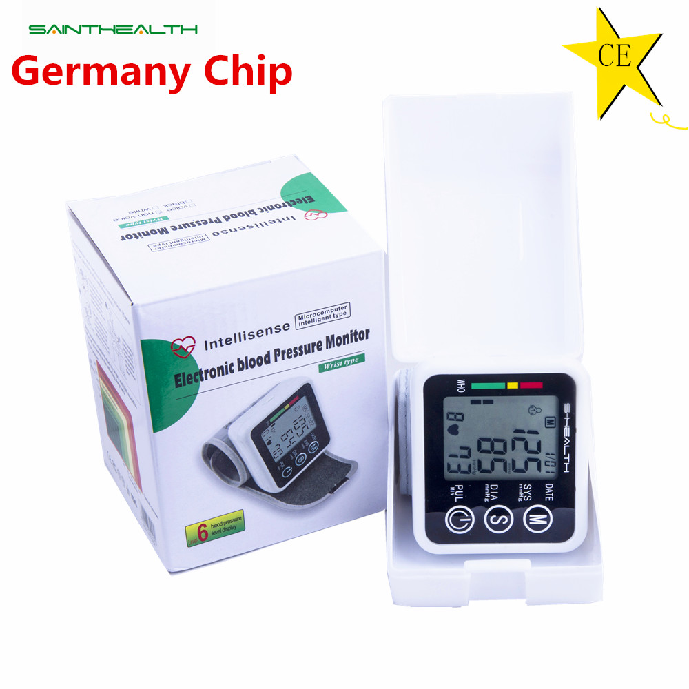 2016 New Health Care Germany Chip Automatic Wrist Digital Blood Pressure Monitor Tonometer Meter for Measuring And Pulse Rate(China (Mainland))