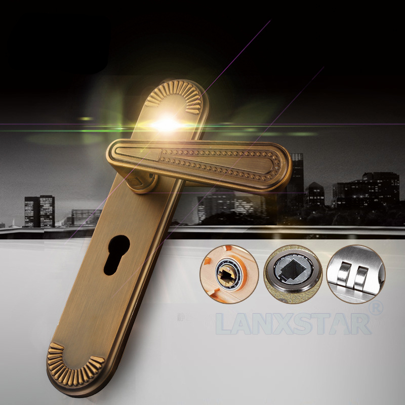 Continental Retro Lock Full Zinc Alloy Handle-lock Universal Mechanical Lockset Interior Room Doors Handle-locks(China (Mainland))