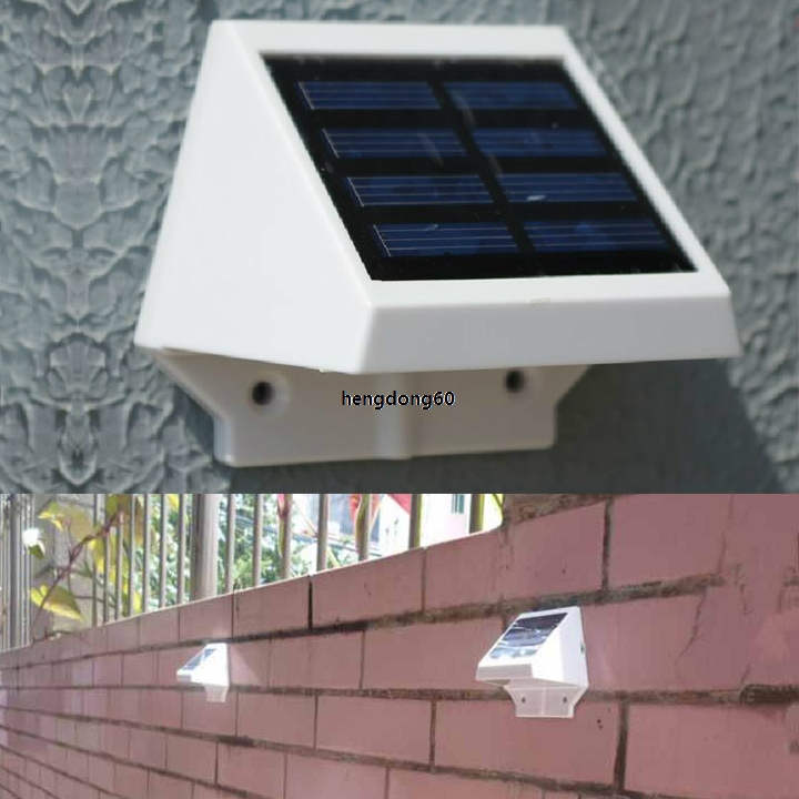white solar power panel 4 led fence gutter light outdoor garden wall