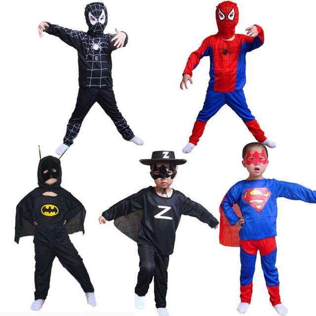Hot Party Supplies Spiderman Superman Spider-man Batman Halloween Costume For Kids Children Cosplay boys girls Christmas Costume