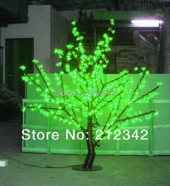 LED Cherry Blossom Tree Light Christmas Light Artificial Tree 480pcs LED Bulbs 1.5m/5FT Height Outdoor Light Green Free Shipping(China (Mainland))