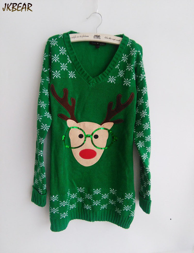 New-arriving Rudolph the Red Nose Reindeer Wearing Glasses Ugly Christmas Sweaters for Women S-XL 2