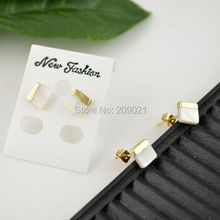 Druzy - 10Pair 10mm Gold Plated Shell Stud Earrings Jewelry Finding(China (Mainland))