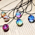 Collares Duplex Planet Harajuku Stars Short Glass Galaxy Pattern Necklaces Pendants Maxi Necklace For Womem Couple
