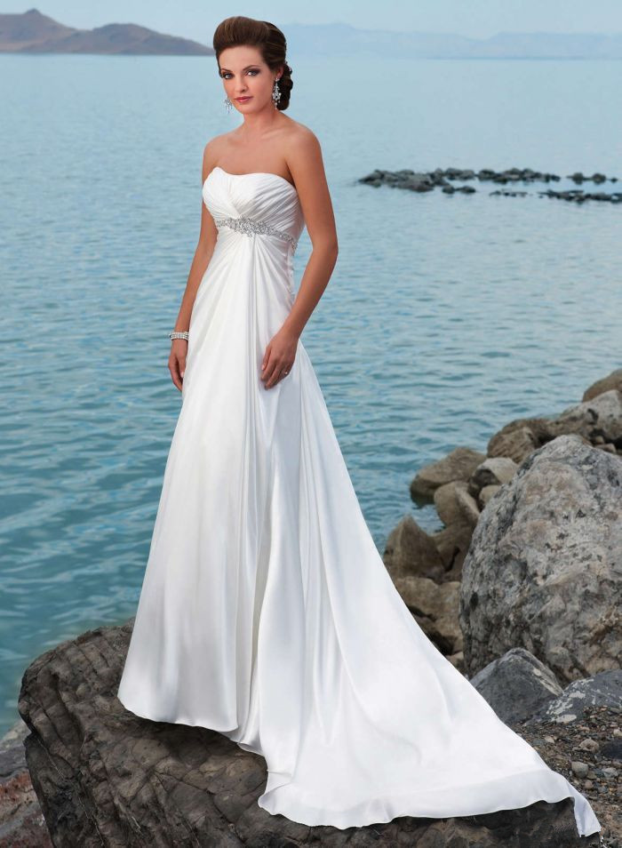 Cheap white plus size beach wedding dress 2015 elegant Inexpensive beach wedding dresses