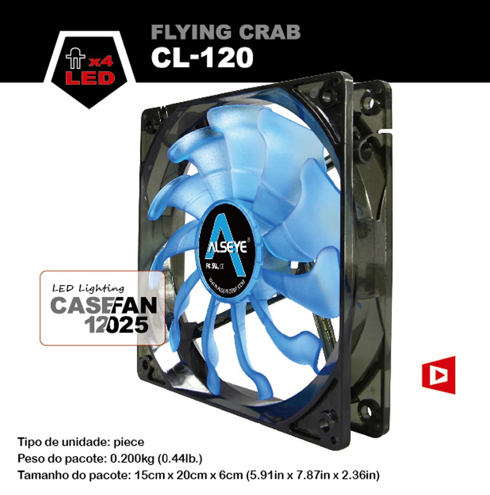 ALSEYE CL-120-B Cooling fan 11 blades 1800RPFM 3 pin LED Case fan for gaming computer 120mm DC fan(China (Mainland))
