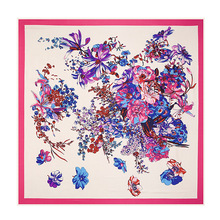 2015 New Fashion 100% Silk Scarvee 5 Colours Women Beautiful Flower Printed Square Scarves - Fantasia store