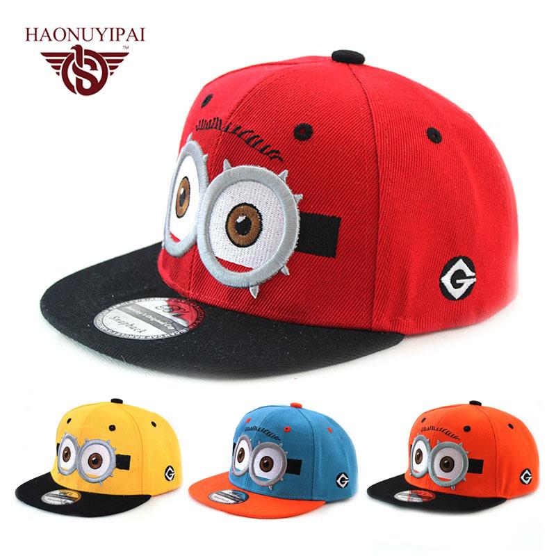 2016 New Cartoon Cute Baby Boy Girl Baseball Cap Kids Gorras Planas Hiphop Hat Minions Children Summer Hats For Girls Outdoor(China (Mainland))