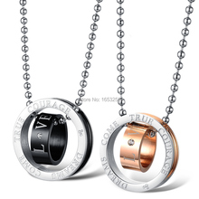pair of Stainless Steel Black Silver Round Shape Love Promise Couple Pendant Necklace free shipping(China (Mainland))
