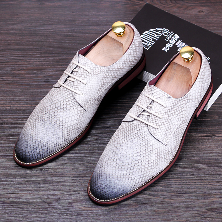 men fashion business dress snake grain print genuine leather shoes wedding party nightclub oxfords flats shoe soft comfort lace  -  Miyado store