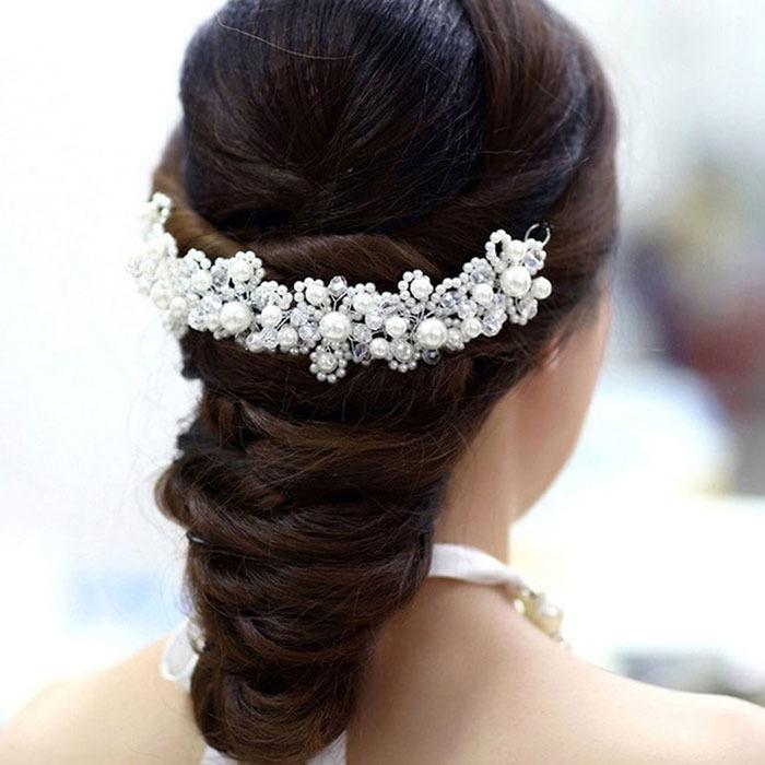 Delicate ladybro Gift Han Edition Hair White Pearl Crystal Bride Headdress Handmade Wedding Hairwear Bridal Hair Jewelry(China (Mainland))