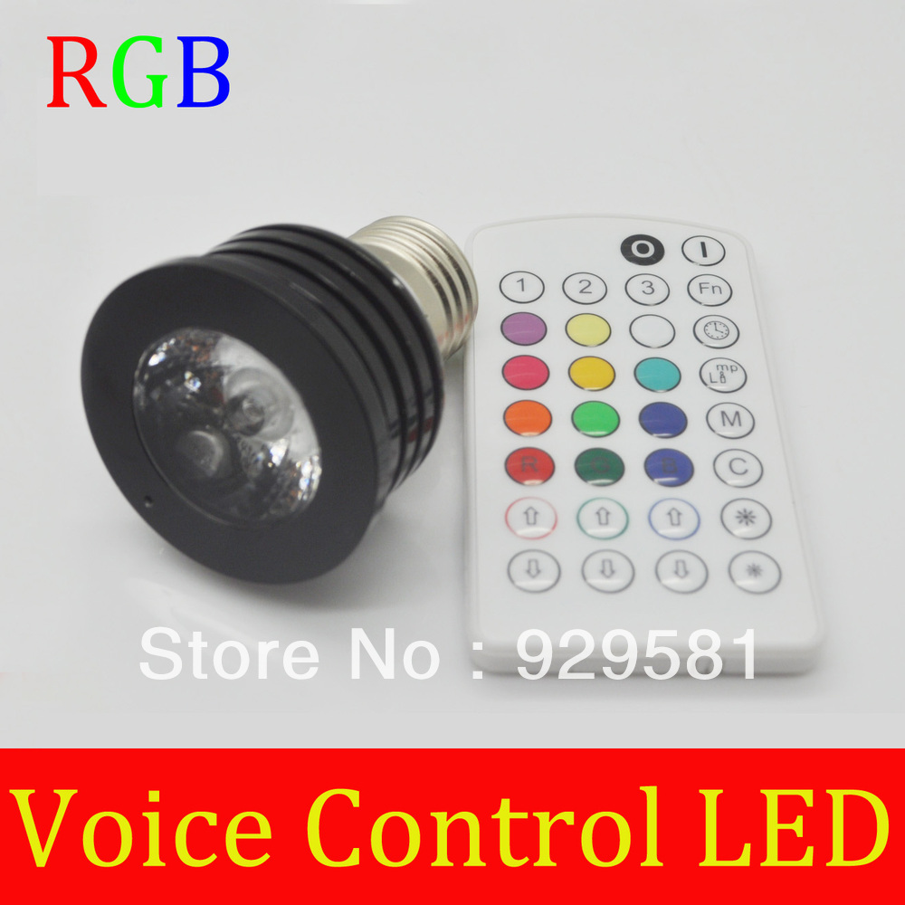 E27 B22 GU10 iSunroad 4W RGB Spotlight LED Color Changing Voice Control light IR Remote,Free Shipping(China (Mainland))