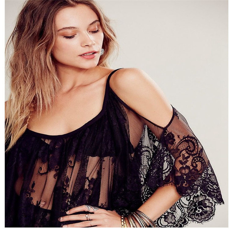 Hot Sale Europe Women Summer Sexy Lace Loose Beach Strapless Camisole Sunscreen Smock Dress S M L XL 2XL(China (Mainland))