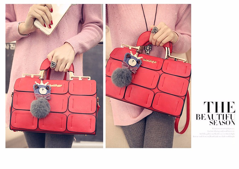 Lattice Patchwork Ladies Designer Crossbody Bag PU Leather Large Handbag Japan&Korean Style Women Gorgeous Elegant Shoulder Bag
