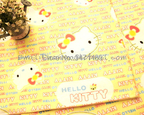 hk509D - 1 Yard Cotton Flannel Fabric - Cartoon Characters, Hello Kitty and Words - Yellow (W105)(China (Mainland))