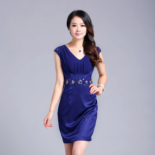Free shipping 2013 summer women's high quality one-piece dress luxurious beading sweet slim plus size silk