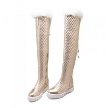 Sobre la rodilla botas de invierno plataforma mujeres nuevo 2016 de altura de la moda de cuero raquetas mujeres con para mujer de piel reales zapatos envío gratis(China (Mainland))