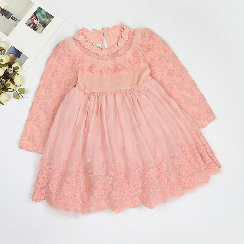 2016 New Spring Dresses For Children Lace Clothing Long Sleeve Girls Clothes Girl Party Dress <br><br>Aliexpress
