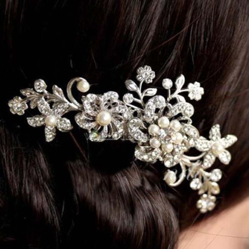 Diamonte Rhinestone Hair Barrete Design Wedding Hair Accessories Silver