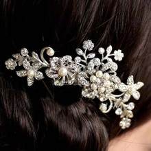 New Fashion Crystal Rhinestone Flower Hair Clip Comb Pin For Women Bridal Wedding Headdress Hair Accessories