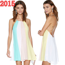 2015 new arrival casual summer dresses for women sexy chiffon Backless Strap vest dress female woman clothing vestidos femininos