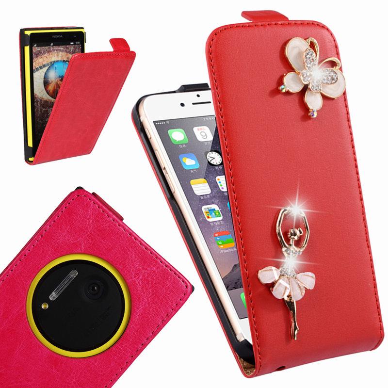 brand Genuine leather phone bag case For Nokia Lumia 1020 N1020 Rhinestone luxury Flip Cover(China (Mainland))