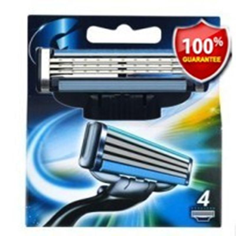 4pcs/lot New Brand shaving razor blade for men Cassette shaving blades to shave mache 3 razor blades(China (Mainland))