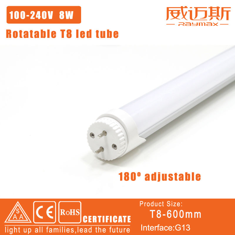 Free shipping!10pcs/lot 180 degree rotation t8 led tube 0.6m 8W led AC85-265V 700-750LM 2 year warranty<br><br>Aliexpress