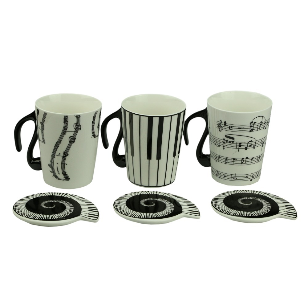 Music Cup Mug Staff Notes Piano Keyboard Ceramic Cup Porcelain Mug Coffee Cup with Cover Creative gift(China (Mainland))