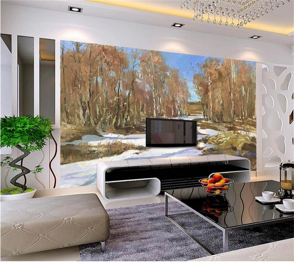 Wall Mural For Living Room Online Get Cheap Snow Forest Wall Mural Aliexpresscom Alibaba
