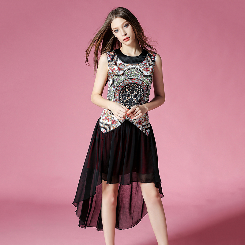 High Street Fashion Summer Women Vintage Print Dress Mesh Patchwork Party dresses Vestidos de Renda Plus Size Designer OM505Одежда и ак�е��уары<br><br><br>Aliexpress